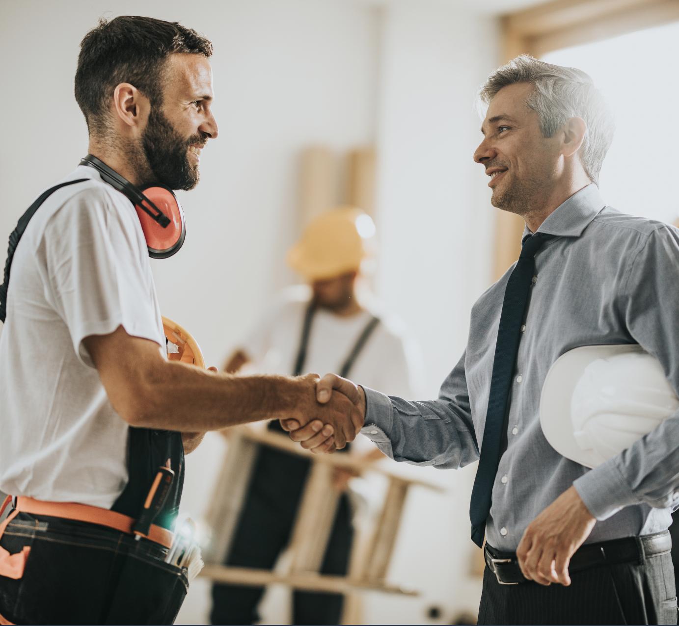 contractors shaking hands